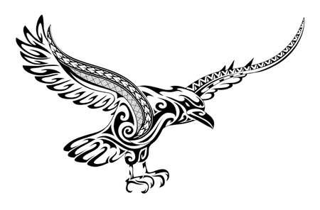 Cuervo de tatuaje tribal con una fusión de adornos de estilo maorí y patrones polinesios