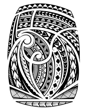 Maori ornament sleeve tattoo including ancient  indigenous polynesian style Archivio Fotografico - 122294292