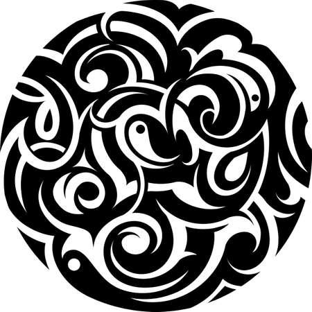 Tribal art tattoo in circle shape