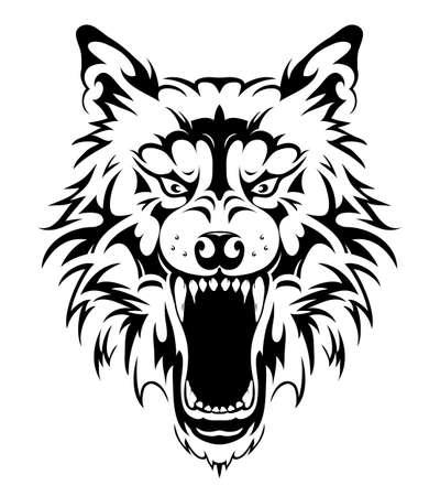 Illustrazione vettoriale di tatuaggio tribale testa di lupo Vettoriali