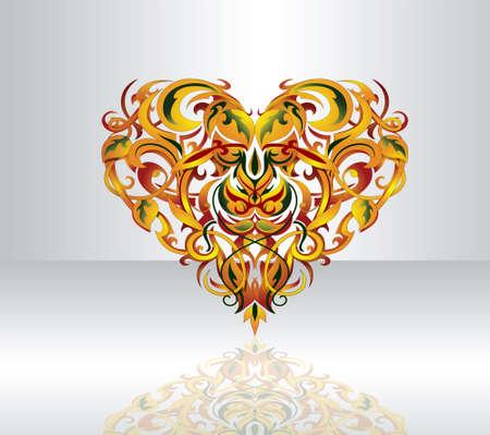 Elegant heart shape with decorative elements inside Vectores