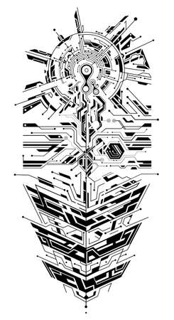 Circuit board as digital theme for sleeve tattoo Vectores