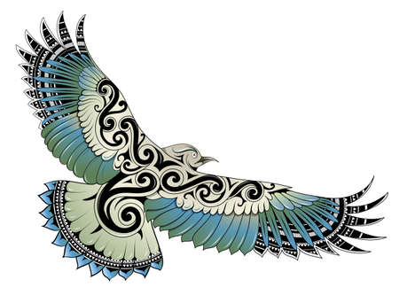 Polynesian style Kea bird tattoo featuring Samoan and Maori ethnic ornaments