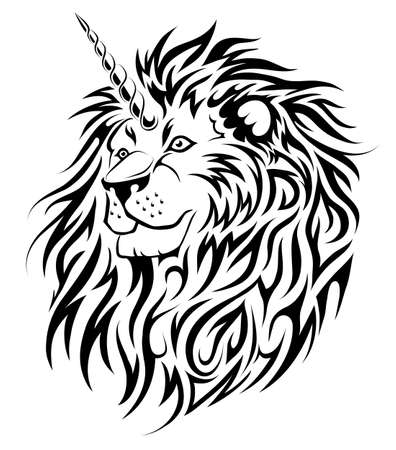 A Unicorn Lion fairy animal tattoo design