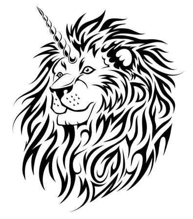 A Unicorn Lion fairy animal tattoo design