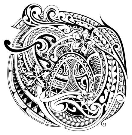 Polynesian pattern design with ethnic motives and floral elements. Can be used as tattoo. Vectores