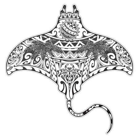Tatuaje de manta raya con elementos étnicos Ilustración de vector