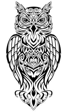 Owl shape tattoo in ethnic style