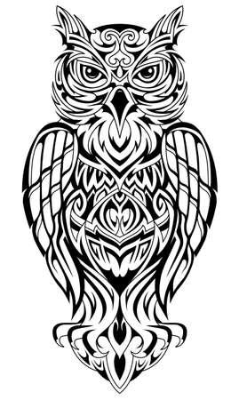 Tatouage en forme de hibou dans un style ethnique
