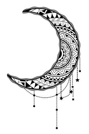 Crescent moon with ethnic ornaments inside