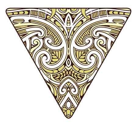 Tribal ornamental tattoo in traditional polynesian koru style