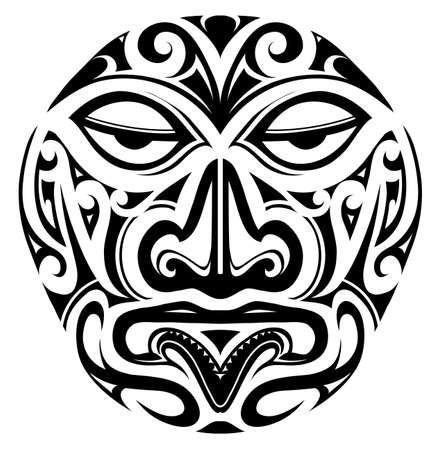 Polynesian indigeous mask design as a tattoo shape
