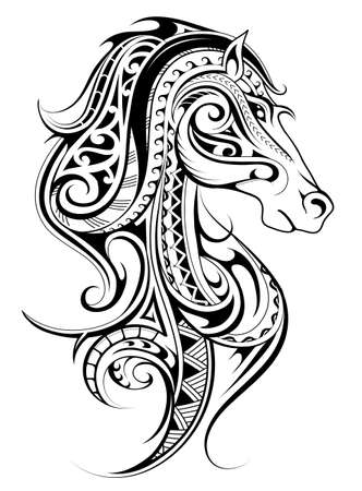 Horse shape tattoo made with polynesian style ornaments. Good for print designs Vettoriali