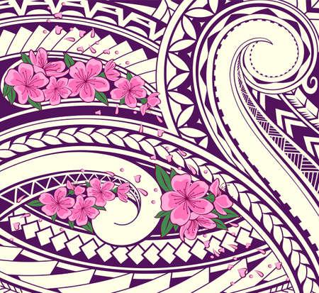 Polynesian ornamental theme with sakura blossom. Two styles fusion