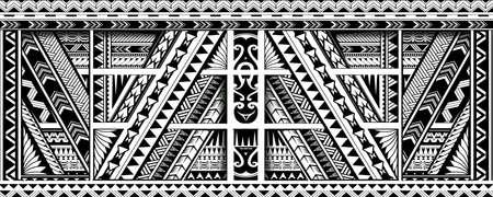 Sleeve tattoo design in polynesian Maori ethnic style