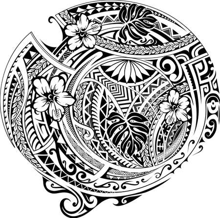 Polynesian pattern design with ethnic motives and floral elements. Can be used as tattoo. Vettoriali