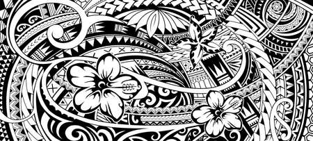 Ethnic print design for fabric with Polynesian style ornaments