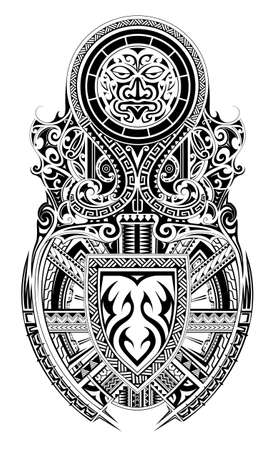 Maori ethnic style shoulder and sleeve tattoo design Vettoriali