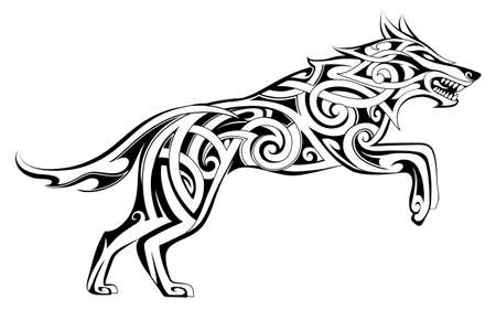 Wolf tattoo in traditional Celtic style Illustration