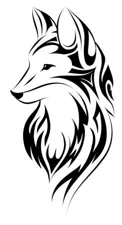 Fox head design in tribal art style Vectores