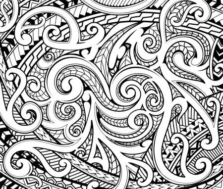 Polynesian traditional ethnic style ornament with various aboriginal drawing techniques