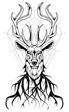 Trendy geometric deer tattoo design in polygonal style