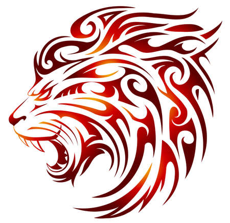 Tribal style Lion tattoo with fire flame shapes