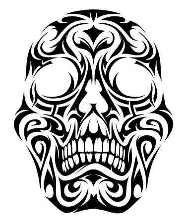 Skull in tribal style tattoo isolated on white Vectores