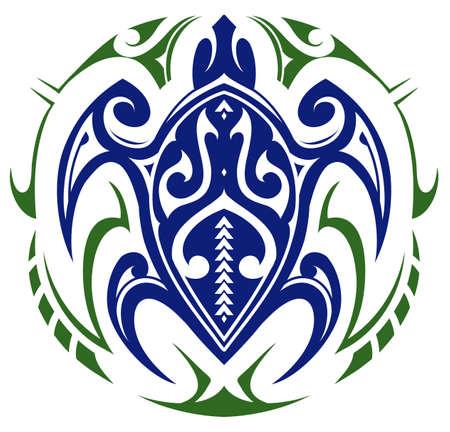 Maori style turtle tattoo shape Vectores