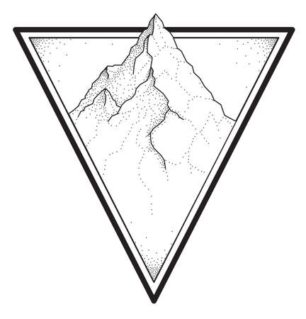 Dotwork style tattoo design with mountain Vectores