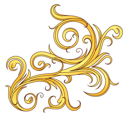 Floral filigree scrollwork with golden tones on a white backdrop