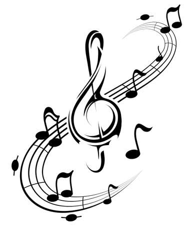 Music concept with notes and treble