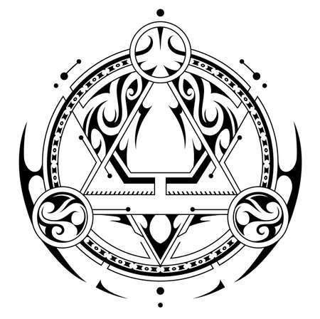 Mystic symbol with geometry elements. Good for game design