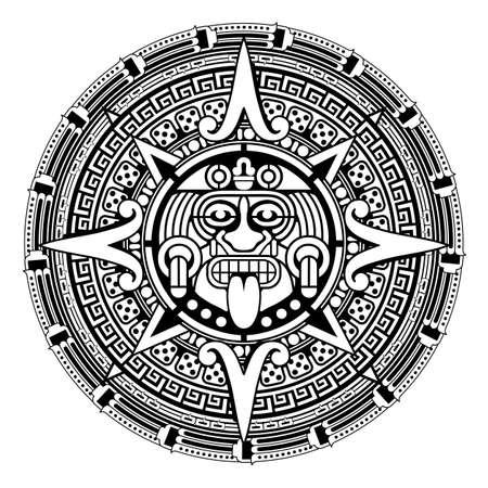 Aztec sun with traditional mayan ornamental circle