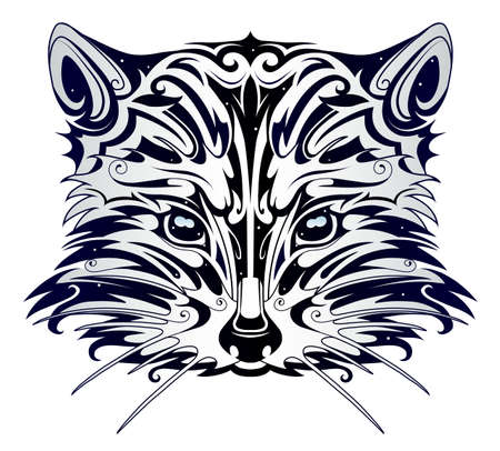 Racoon head tattoo in tribal art style Vectores