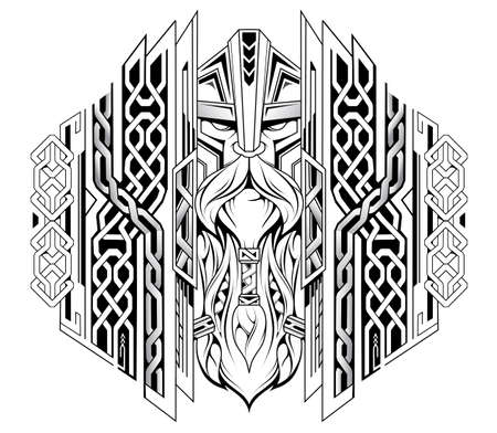 Viking norseman warrior head in Norsk style with ethnic ornament for tattoo or engraving