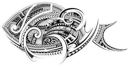 Fish tattoo with Polynesian Maori style ornament