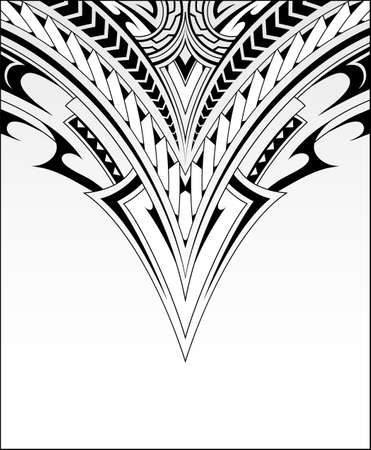 Decorative print with ethnic Polynesian style ornaments