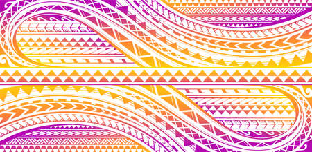 Colorful print design with Polynesian ethnic style ornaments Vectores