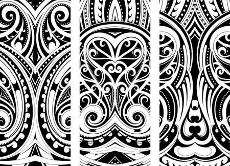 Maori style ornament set. Can be used as web design theme Vektorgrafik
