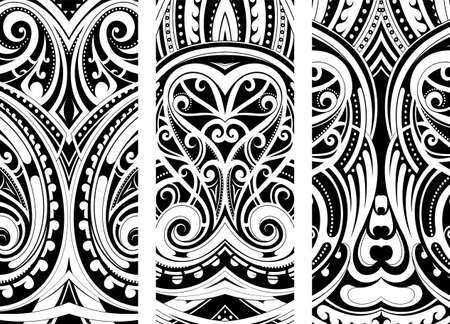 Maori style ornament set. Can be used as web design theme Vector Illustration
