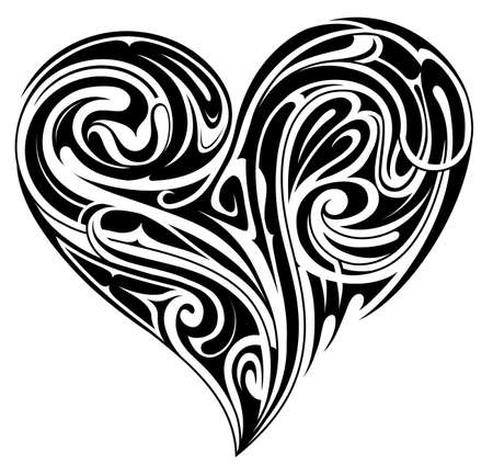 Decorative heart shape design in tribal style. Good for tattoo and prints