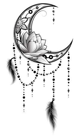 Elegant boho style tattoo with crescent moon, beads and feathers