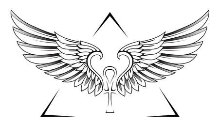 Classical style wings tattoo with Egypt ankh symbol Vectores