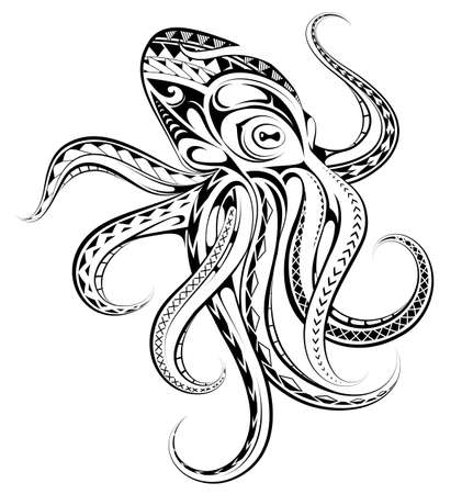Decorative octopus tattoo in Polynesian style Vectores