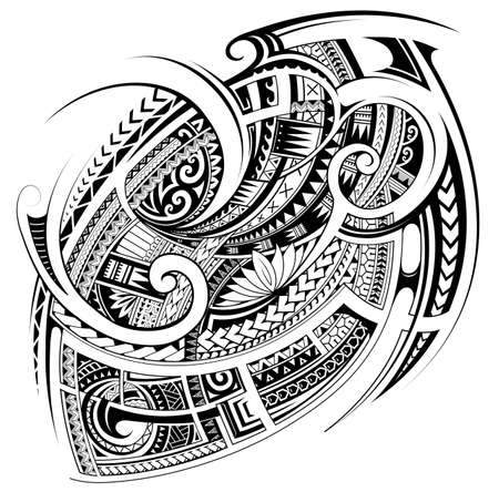 Polynesian style tattoo design for chest and shoulder area
