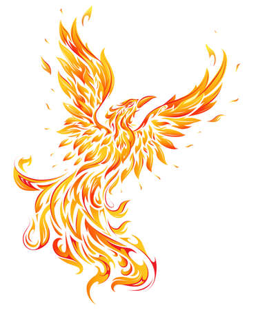 Phoenix bird made out of fire flames as feathers