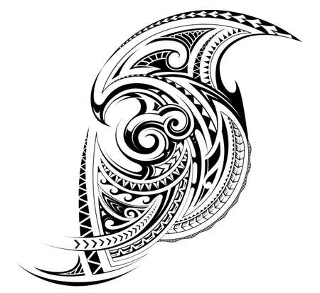 Tribal style tattoo design with polynesian origin