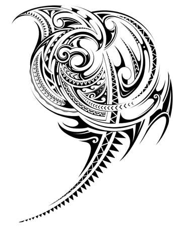 Tribal art tattoo design with ethnic polynesian style elements