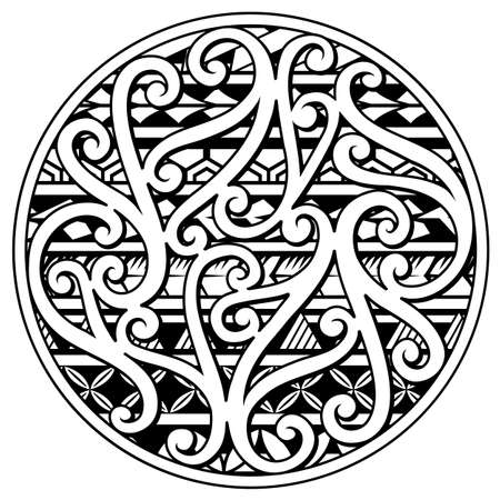 Tattoo design with ethnic polynesian style ornamental elements